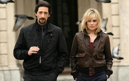 Adrien Brody as Inspector Enzo Avolfi and Emmanuelle Seigner as Linda, sister to abducted model, Celine.